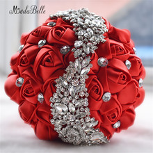 2016 Wedding Flowers Bridal Bouquets Red Artificial Rose Luxury Diamond Crystal Bouquet Wedding Bling Brides Ramo De Novia(China)