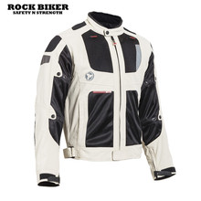 ROCK BIKER New arrival professional motorcycle racing Jacket motocross jacket with protection black white color top quality(China)