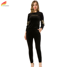 New Arrival 2017 Autumn Black Embroidery Gold Velvet Tracksuits Womens Long Sleeve 2 piece Hoodies Set Plus Size Sporting Suits(China)