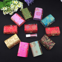Pretty Mirror Small Gift Boxes for Candy Chocolate High End Silk Brocade Lipstick Tubes Lip Balm Packaging Case 12pcs/lot