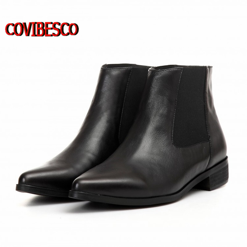 New Fashion Pointed Toe women ankle boots genuine leather boots for women square Low Motorcycle boots spring autumn martin shoes<br><br>Aliexpress