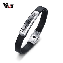 Vnox Men's Genuine Black Leather Bracelet Free Engraving Customize ID Stainless Steel Bracelet for Boy Male Daily Jewelry(China)