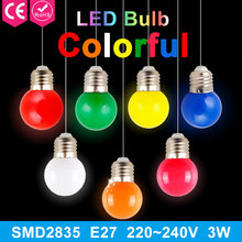 220V Home Lighting Colorful Led Bulb Ampoule E27 3W Energy Saving Light Red Orange Yellow Green Blue Milk Pink Lamp Smd2835(China)