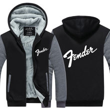 New fashion Winter 2016 Guitar brand Fender printing logo Jacket Thicken Fleece  Hoody Sweatshirt Tops USA EU size Plus size