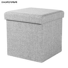 iKayaa FR Stock Modern Foldable Storage Ottoman Fabric Foot Stool Seat Footrest Folding Storage Box Pouffe