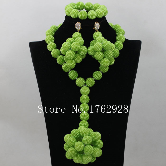 Unique Grape style eardrop sete,African Wedding Peak green Beads Dubai Necklace Jewelry Set Free Shipping P00039