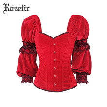 Rosetic Gothic Bustier Corset Vintage Women Belts Red Bandage Slim Casual Lace Sexy Lace-Up Cosplay Party Retro Punk Goth Corset(China)