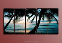 High Quality Blue Coco Palm Trees Sun Oil Painting On Canvas 5Pcs Sets Wall Art Picture For Living Room Home Decoration Modern