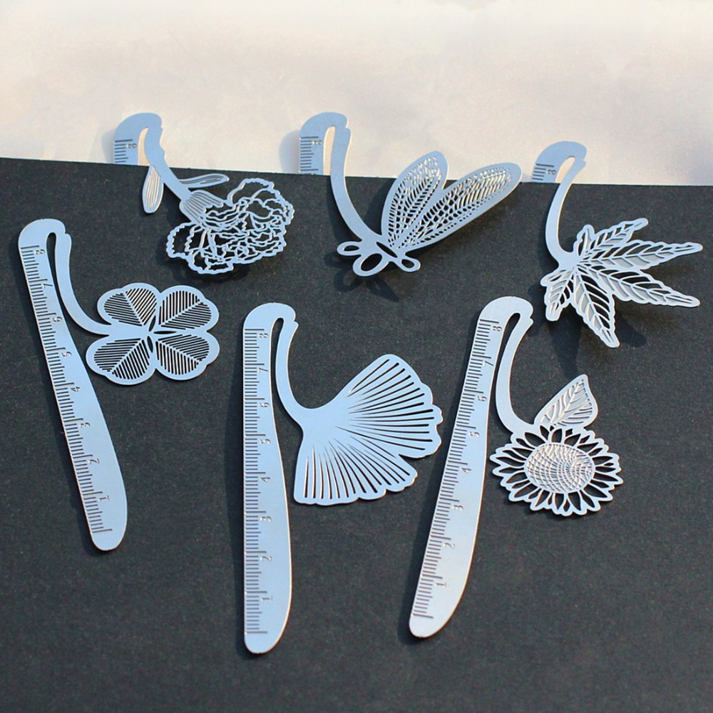 Creative Cute Metal stainless steel Hollow Bookmark ruler Dragonfly Book Holder for Book Paper Creative Gift Korean Stationery(China)