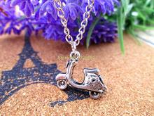 fashion 19x15mm Scooter Charms Antique Tibetan Silver Tone Motorbike Vespa Moped Motorcycle charms pendant necklace(China)