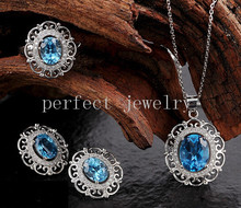 Topaz set Natural real blue topaz 925 sterling silver 1pc ring 1pc pendant 1 pair stud earring 3.5ct*4pcs gems #15031804