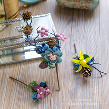3PCS Gorgeous flower hair sticks women hairpins artificial berries beach holiday headpiece hair clips wedding decoration CW01(China)
