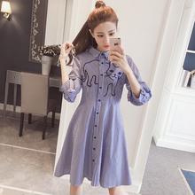 New arrive fashion cat embroidery half lantern sleeve stripe dress, casual cat dress