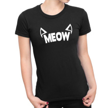 Meow Cat Ears T-shirt Kawaii Fashion Women Tops Tumblr Hipster Style Graphic Tees Women Black White T Shirt