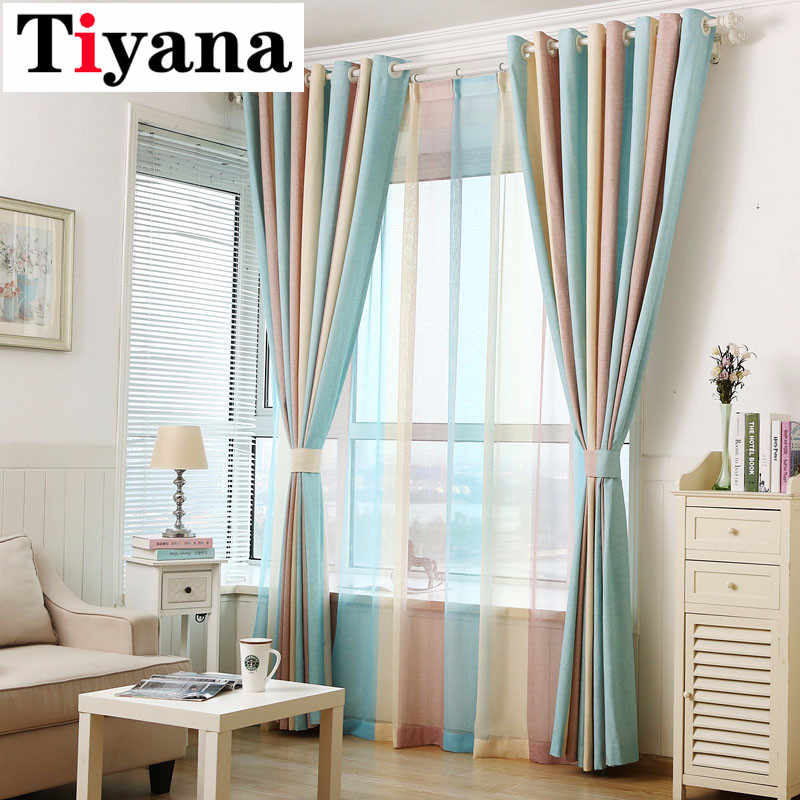 Tiyana Modern Elegant Multi Color Stripe Curtains Window Drapes for Living Room Bedroom Quality Sheer Curtain Home Decor P391D2