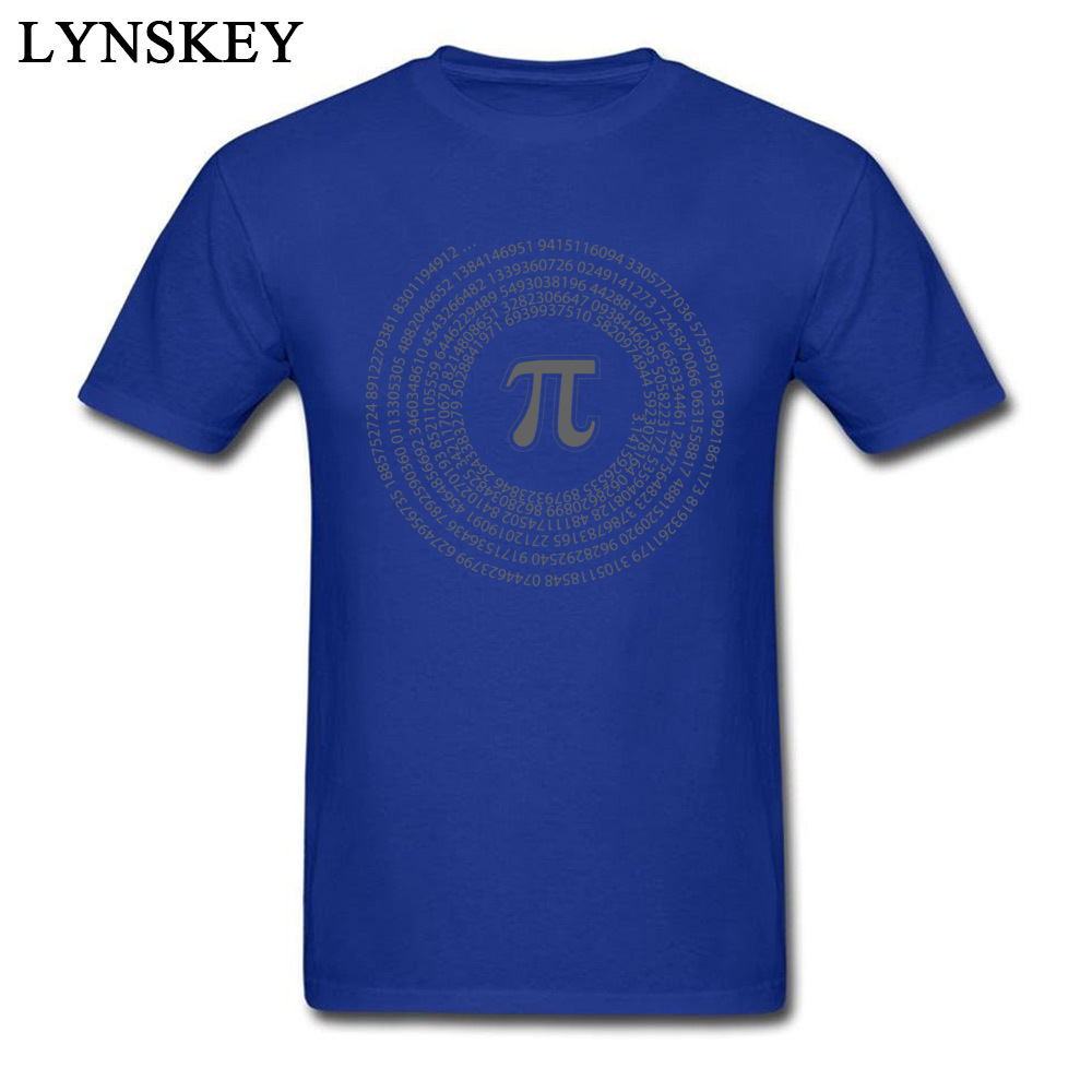Group Tops T Shirt Funny Round Collar Short Sleeve Pi day vortex mathematical constant 100% Cotton Men T-shirts Casual Summer Tee-Shirt Pi day vortex mathematical constant blue