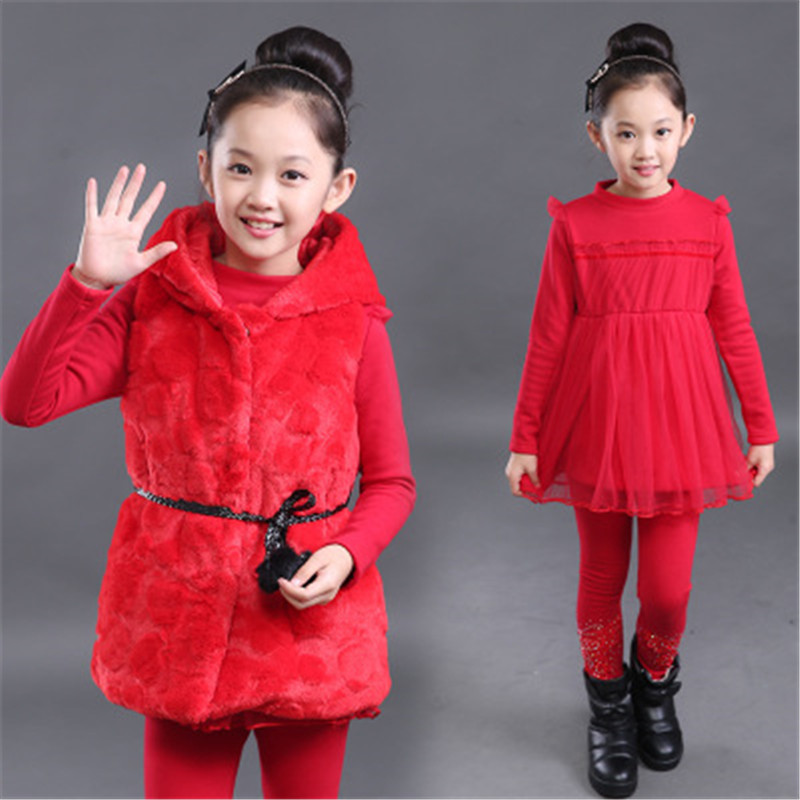 XYT01 baby girl clothes children baby girl warm thick three-pieces sets girls winter fashion girls suits 2017 new arrival<br>