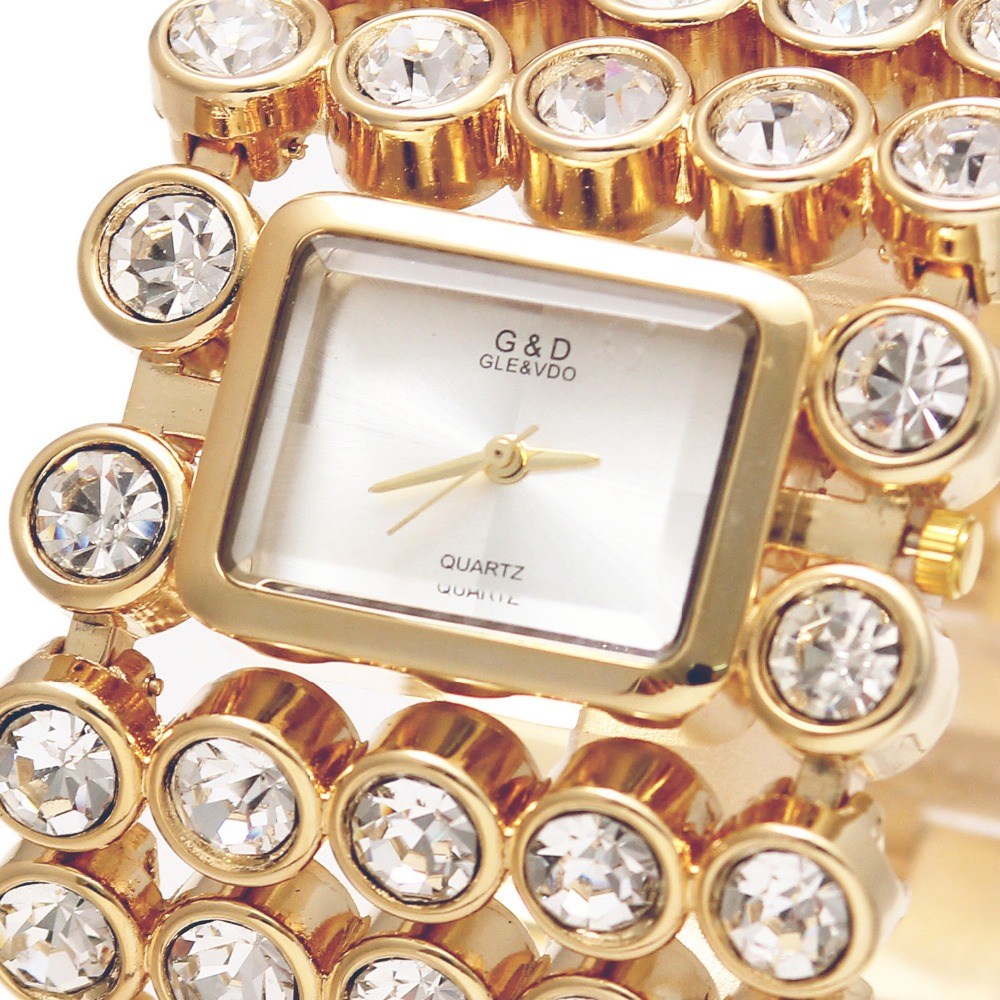 2017 G&amp;D Women Quartz Wristwatches Top Brand Luxury  Gold Lady Bracelet Watches Watch Clock Relojes Mujer Relogio Feminino Gifts<br>