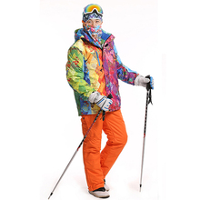 Outdoor waterproof windrpoof set skiing jacket and pants free shipping brand men's winter ski set snowboard suit men(China)