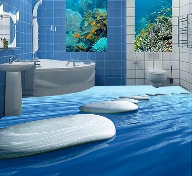 3d flooring custom waterproof 3d pvc flooring 3 d pebbles The water stone 3d bathroom flooring photo 3d wall murals wallpaper<br>