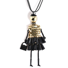Shipinwei Fashion doll Pendant Necklace Lovely Gold Color Dress Doll Long Chain Necklace Maxi collares Women collier(China)