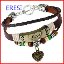 Made In China Lover Jewelry Handmade Leather Charm Bracelet Welcome Clients Own Designs Fashion Heart Bracelet