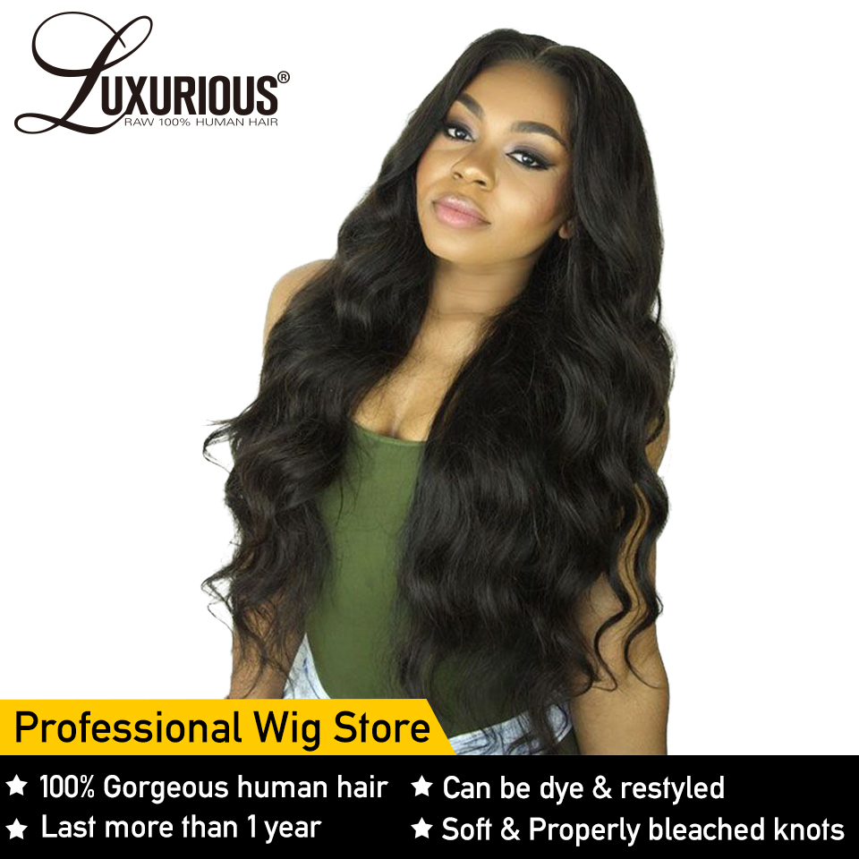 Body Wave 13X6 Lace Front Human Hair Wigs For Black Women Pre Plucked Hairline 13X4 Lace Front Wig 8-26inch Brazilian Remy Hair(China)