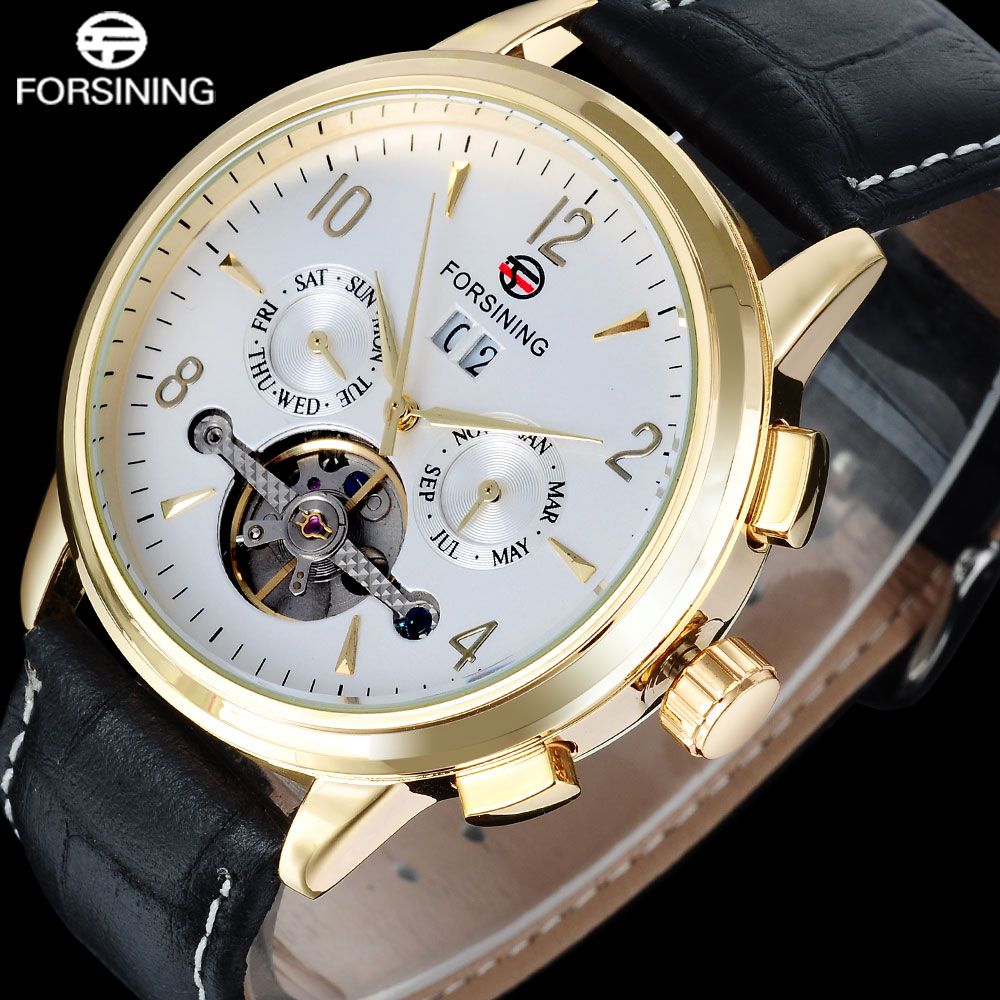 FORSINING Brand Men Mechanical Watch Mens Simple Tourbillon Automatic Watches Leather Band Auto-Calendar Clock Relogio Masculino<br>