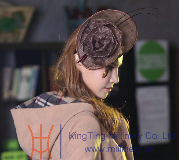 Free Shipping New Graceful Flower Girl Hair Accessories For Hair Fascinator Hair Clips Hair Brown Color Sinamay Fascinator Hat<br>