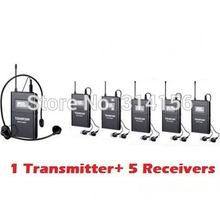 Takstar WTG-500/WTG 500UHF Wireless Acoustic Transmission System range up to 100M 1 Transmitter+5 Receivers+MIC+5 earphone