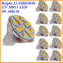 Hot Sale 10X 3W MR11 LED Spotlight Bulb 12V DC Mini Cup GU4 Lamp 12x SMD5050 Warm White Replace Halogen 20W for Home Lighting
