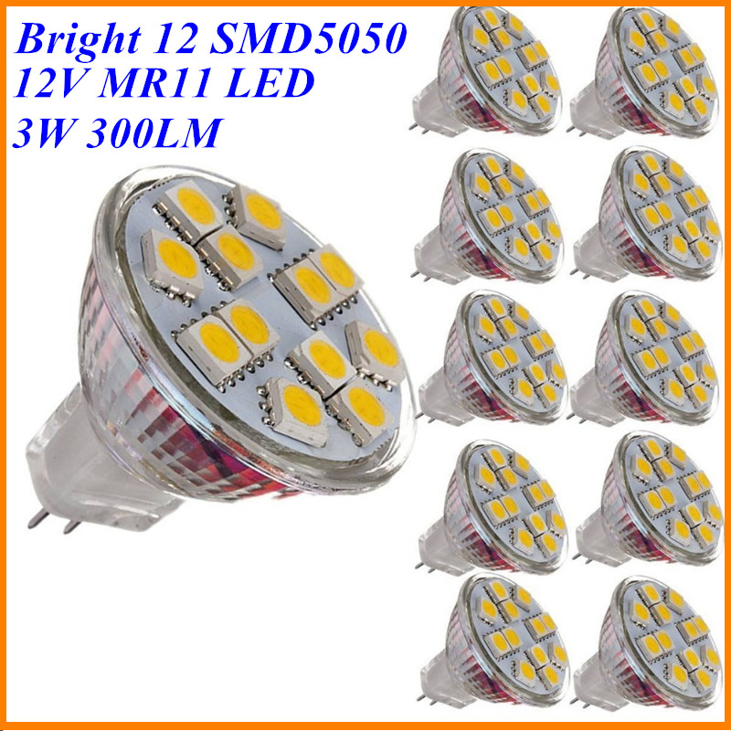 Hot Sale 10X 3W MR11 LED Spotlight Bulb 12V DC Mini Cup GU4 Lamp 12x SMD5050 Warm White Replace Halogen 20W for Home Lighting(China (Mainland))