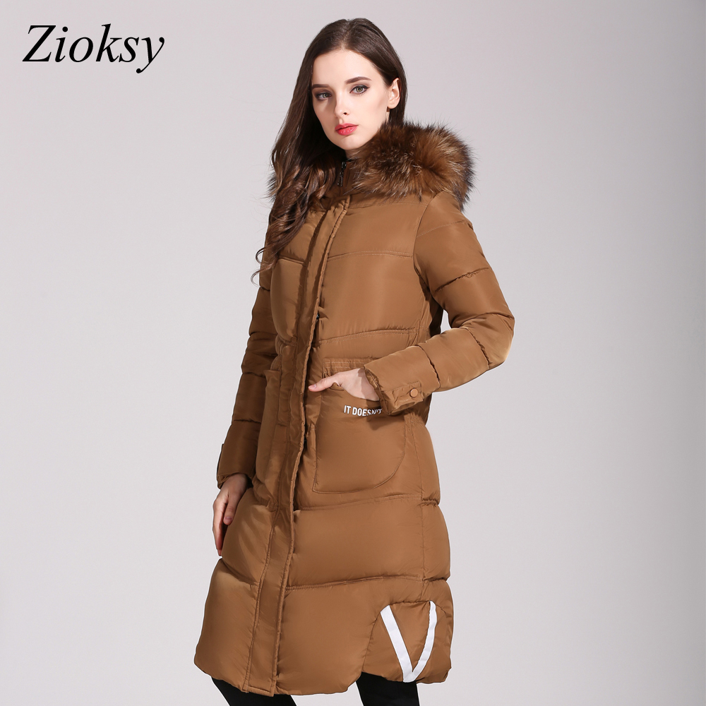 Zoksy 2017 Fashion Long Winter Jacket Women Cotton-padded Parkas Jacket Large Fur Collar Female Warm Thick Coat Women OutwearÎäåæäà è àêñåññóàðû<br><br>