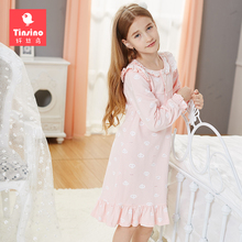 Tinsino Children Girls Autumn Nightgowns Long Sleeve Ruffles Nightdress Spring Princess Sleepwear Kids Girl Pajamas Home Clothes(China)