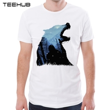 Jon Snow - King of The North Men T-shirt Wolf Printed Tee Hunters are coming t shirts Short Sleeve Hipster Game Of ThronesTops(China)
