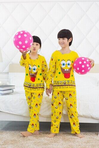 2015 spring autumn Childrens sponge Bob clothing Sets Boys Girls Tops+pants Cotton Pijamas kids Cartoon Sleepwear Pajamas 3-12Y<br><br>Aliexpress
