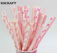KSCRAFT 125pcs pink striped heart chevron mixed wedding decorative party decoration event supplies drinking Paper Straws