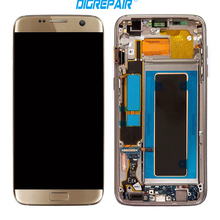 Black Silver Gold For S7 Edge G935 A/T/P/V LCD Display Touch Screen Digitizer Full Assembly+Bezel Frame Replacement Repair Parts