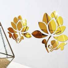 Creative Diy Removable Acrylic Flower Mirror Wall Stickers Lotus Living Room Bathroom Decorative Glass Decal Wall Decals Adesivo