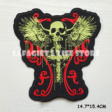 1pcs Customized Vampire Logo Patches for Clothing Jacket Bag Motorcycle HAT Appliques Garment Iron Sew on patches Vest sticker(China)