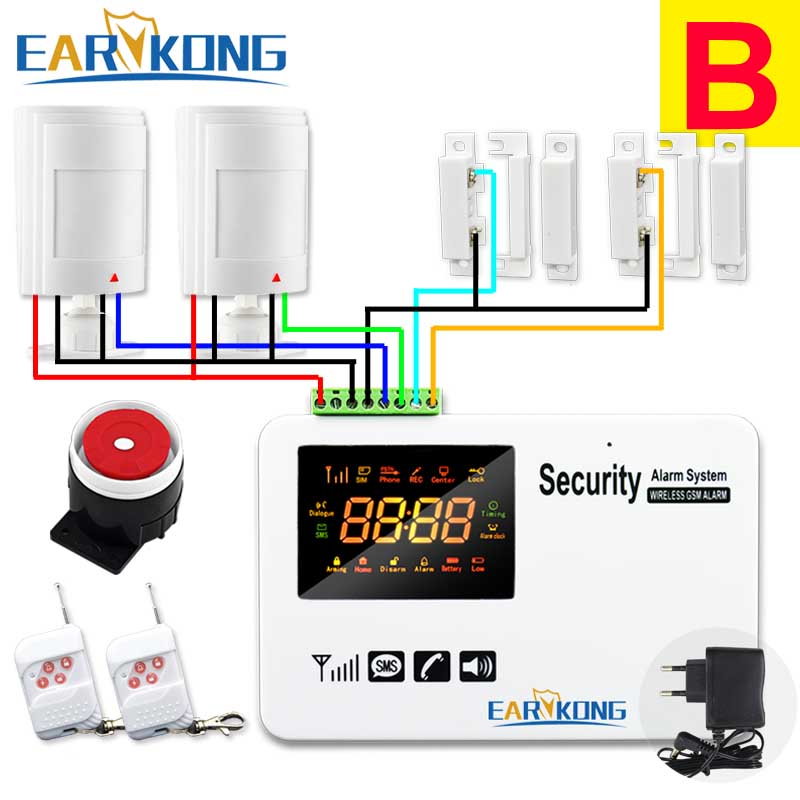 wireless wired gsm home alarm system pir wired detectors wired door open Support Russian English Spanish Language Voice Prompt <br>