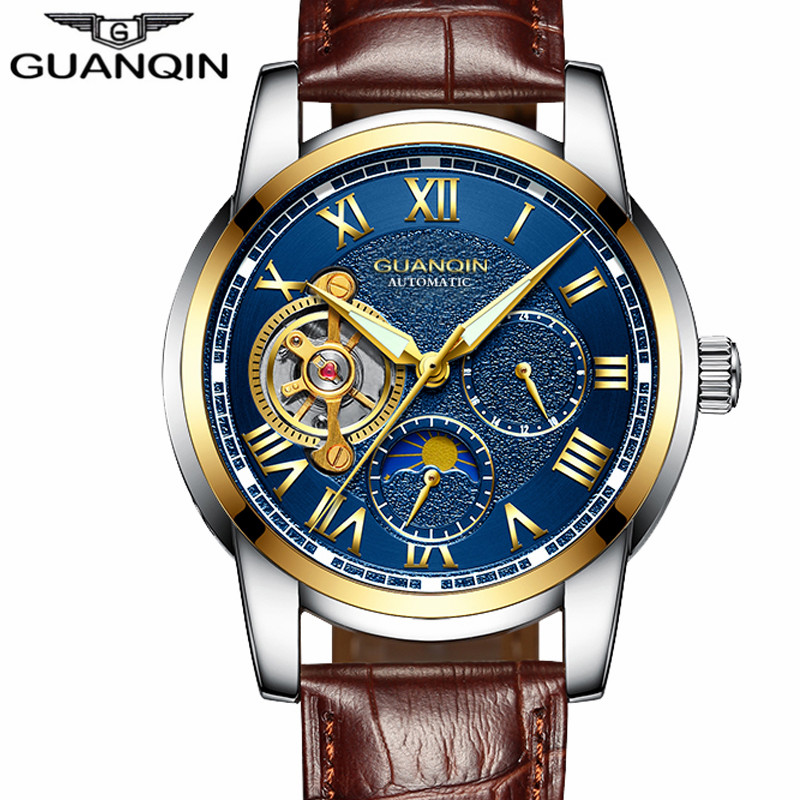 New GUANQIN Mens Watches Top Brand Luxury Tourbillon Skeleton Men Sport Leather Strap Waterproof Automatic Mechanical Wristwatch<br>