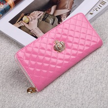 New Hot Crystal Crown Women Wallets Leather Purse Plaid Zipper Bag Quilted Clutch Party Work Purse Handbag Long Wallet SVN031006