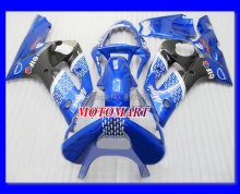 CUSTOM Motorcycle Fairing kit for KAWASAKI Ninja ZX6R 03 04 ZX6R 636 2003 2004  Blue black ABS Fairings set +7 gifts SQ53