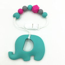 Hot Selling silicone teething pacifier clips necklace Silicone Baby Funny Pacifier -baby chew toys with large elephant teether