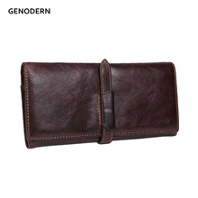 GENODERN 100% Cow Leather Men Wallets Long Genuine Leather Wallets for Men & Women Brown Men Purses Long Man Wallet