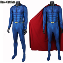 Hero Catcher High Quality Superman Costume Man Of Steel Spandex Suit Without Logo Spandex Superman Suit With Cape