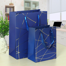 25x18x8.5cm Lines Hot Stamping Laminated Paper Gift Bags with Ribbon Handle Candy Red Blue Black Coffee Business Present Bags