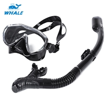 WHALE Safe Wear Resistant Diving Mask Set Professional Scuba Diving Silicone Mask Snorkel Durable Soft Comfortable HOT(China)