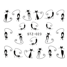 1sheets New HOT Selling Cat Long Tail Stickers Water Transfer Nail Art Decorations Nail Art Decals Patch Wraps Tools STZ023(China)